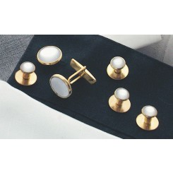 White on Gold Metal Studs and Cufflinks Set
