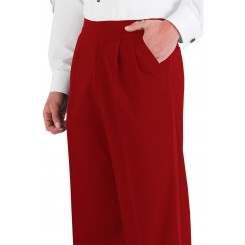 Red Pleated Tuxedo Pants