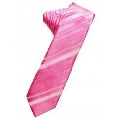 Bubblegum Striped Satin Skinny Suit Tie