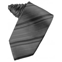 Charcoal Striped Satin Suit Tie
