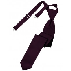 Berry Solid Satin Skinny Tie
