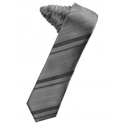Charcoal Striped Satin Skinny Suit Tie