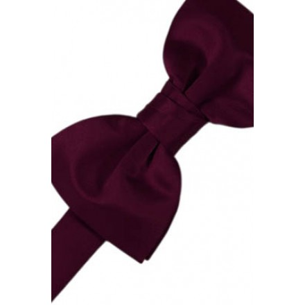 Wine Solid Satin Bowtie