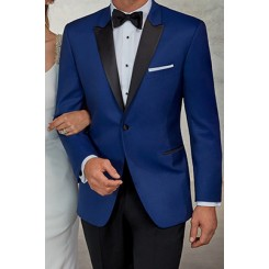 'Wainscott' Blue 1-Button Peak Tuxedo Jacket by Ike Behar