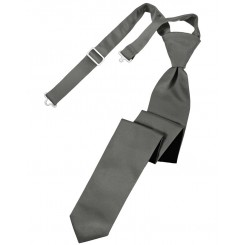 Charcoal Solid Satin Skinny Tie