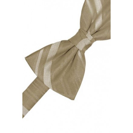 Latte Striped Satin Bowtie