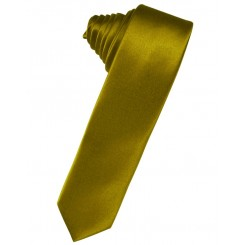 New Gold Solid Satin Skinny Suit Tie