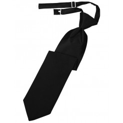 Black Solid Satin Long Tie