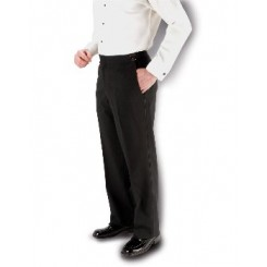 Black 150's SLIM-FIT Flat Front Tuxedo Pants
