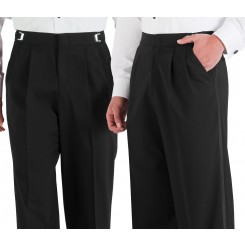 Traditional Black Pleat Tuxedo Pants