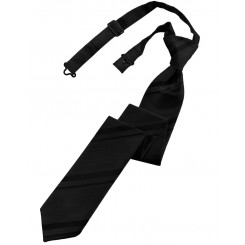 Black Striped Satin Skinny Tie