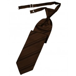 Chocolate Striped Satin Long Tie