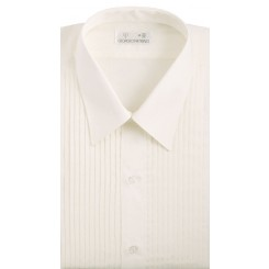 Laydown Pleated Ivory Tuxedo Shirt