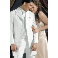 'Galaxy' 7-Button White Notch Tuxedo Jacket by Andrew Fezza