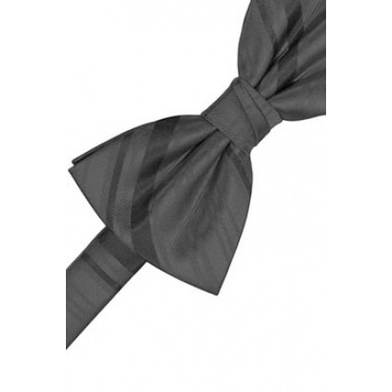 Charcoal Striped Satin Bowtie