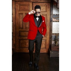 'Bradford' Red w/ Black Shawl Lapels 1-Button Tuxedo Jacket