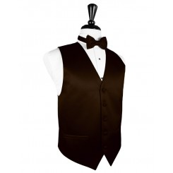 Chocolate Solid Satin Vest