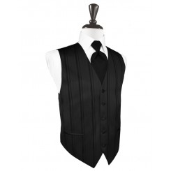 Black Striped Satin Vest