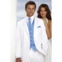 'Virgo' 2-Button Tuxedo in White by Perry Ellis