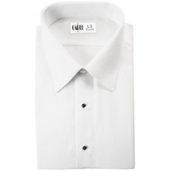 White Lay Down Collar Flat Front Shirt