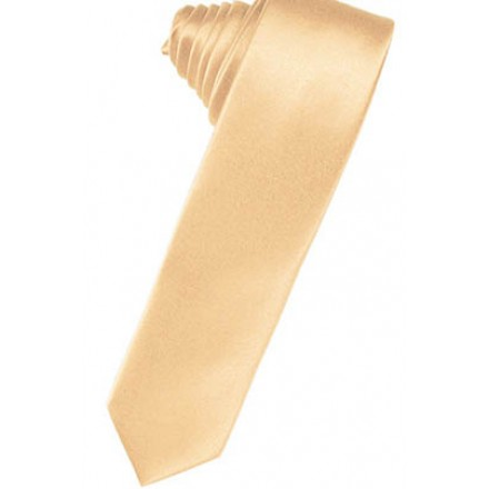 Apricot Solid Satin Skinny Suit Tie