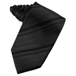 Black Striped Satin Suit Tie