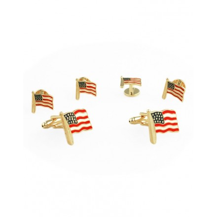 09 - American Flags Cufflink and Stud Set
