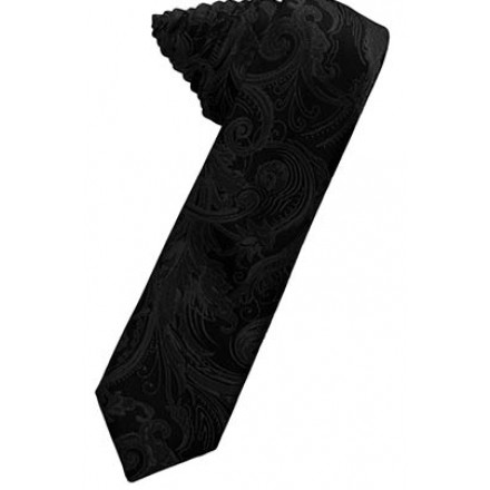 Black Tapestry Skinny Suit Tie