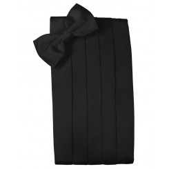 Black Solid Satin Cummerbund