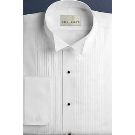 Wingtip Pleated White Tuxedo Shirt