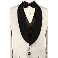 'Park Ave' Custom Black Satin Shawl Lapels on Ivory Jacket by Cardi