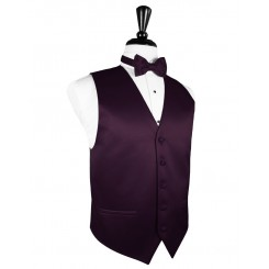 Berry Solid Satin Vest