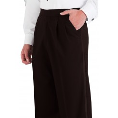 Dark Chocolate Super 150's Pleated Tuxedo Pants