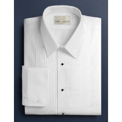 Laydown Pleated White Tuxedo Shirt