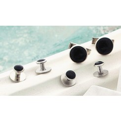 Black on Silver Metal Studs and Cufflinks Set