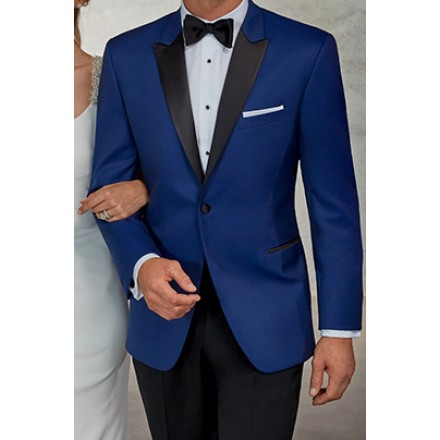 Wainscott' Blue 1-Button Peak Tuxedo Jacket by Ike Behar