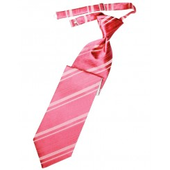 Bubblegum Striped Satin Long Tie