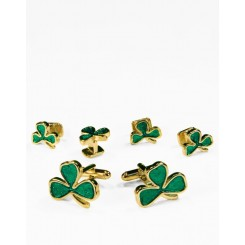 08 - Irish Shamrock in Gold Cufflink and Stud Set