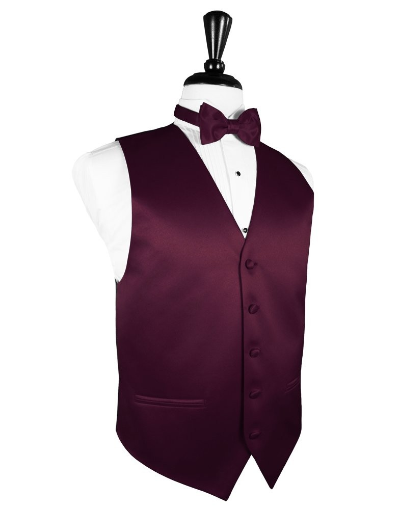 Quinceanera Chambelanes Outfits Wine Satin Vest | Rent...