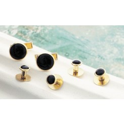Black on Gold Metal Studs and Cufflinks Set