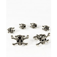 10 - Skull and Crossbones Cufflink and Stud Set in Silver