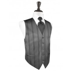 Charcoal Striped Satin Vest