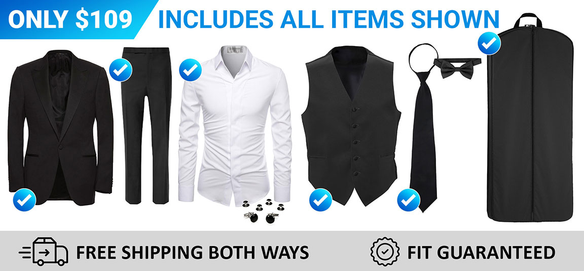 Our $134 Tuxedo Rental Includes Several Accessories