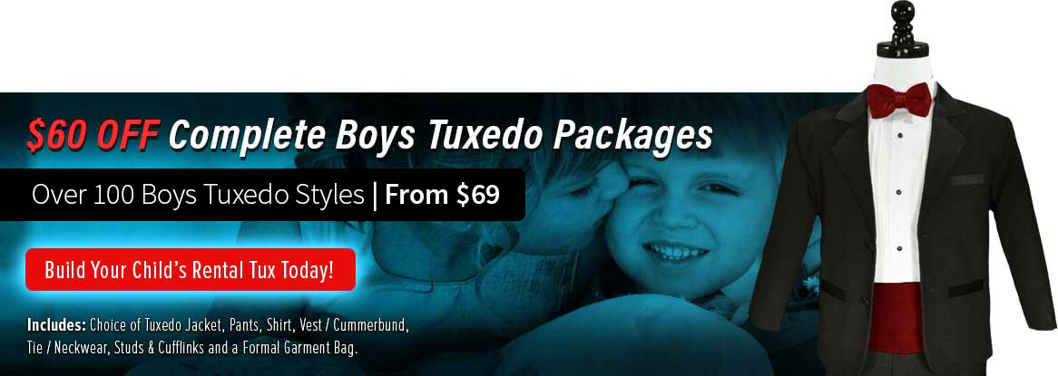 Boys Tuxedo Rentals, Sales and Sizes