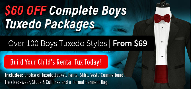 Over 100 Styles of Boys Tuxedos Available
