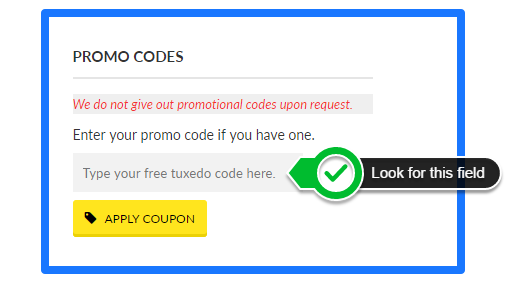 Entering your free tuxedo coupon
